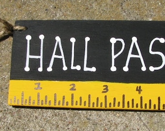Teacher Gifts Hall Pass Black with Ruler