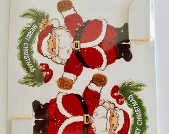 """Vintage Hallmark Cards """"Santa and His Friends Honeycomb Party Favors"""" Sealed Package of 4"""