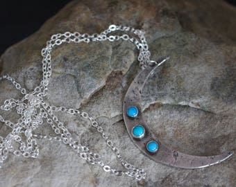 crescent moon necklace. moon jewelry. sterling silver and turquoise crescent moon necklace. 925 silver.Large