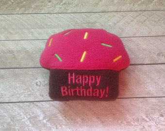 Dog Toy-Happy Birthday Cupcake with squeaker