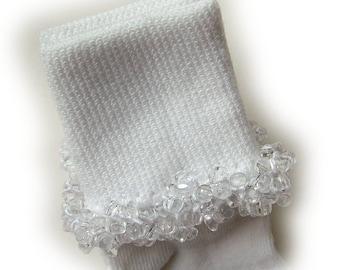 Kathy's Beaded Socks - Crystal Clear socks, girls socks, tri bead socks, school socks, Baptism socks, Christening socks, baby socks
