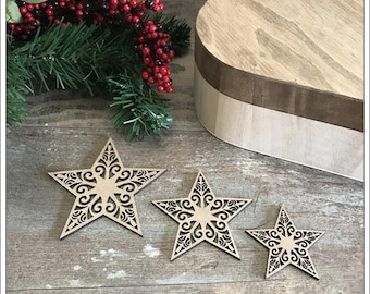 Set of 3 wooden stars raw 3mm thick