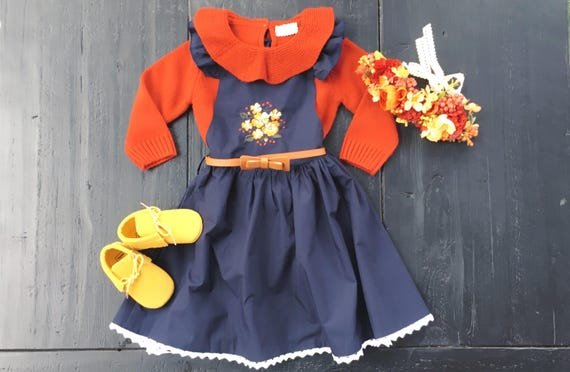 Navy Blue Embroidered Girls Dress with Rustic Flowers and Crochet Trim