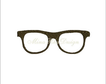 Glasses Full Stitch Machine Embroidery Design Instant Download