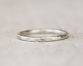 Silver Stacking Ring - Singles or Multiples - Handmade - Mothers Day - Hammered - Midi Ring - Boho - Handcrafted Metalwork