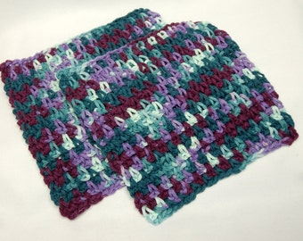 Wash Cloth/Dish Cloth/Trivet Set:  Crocheted Shades of Purple and Blue - Ready to Ship