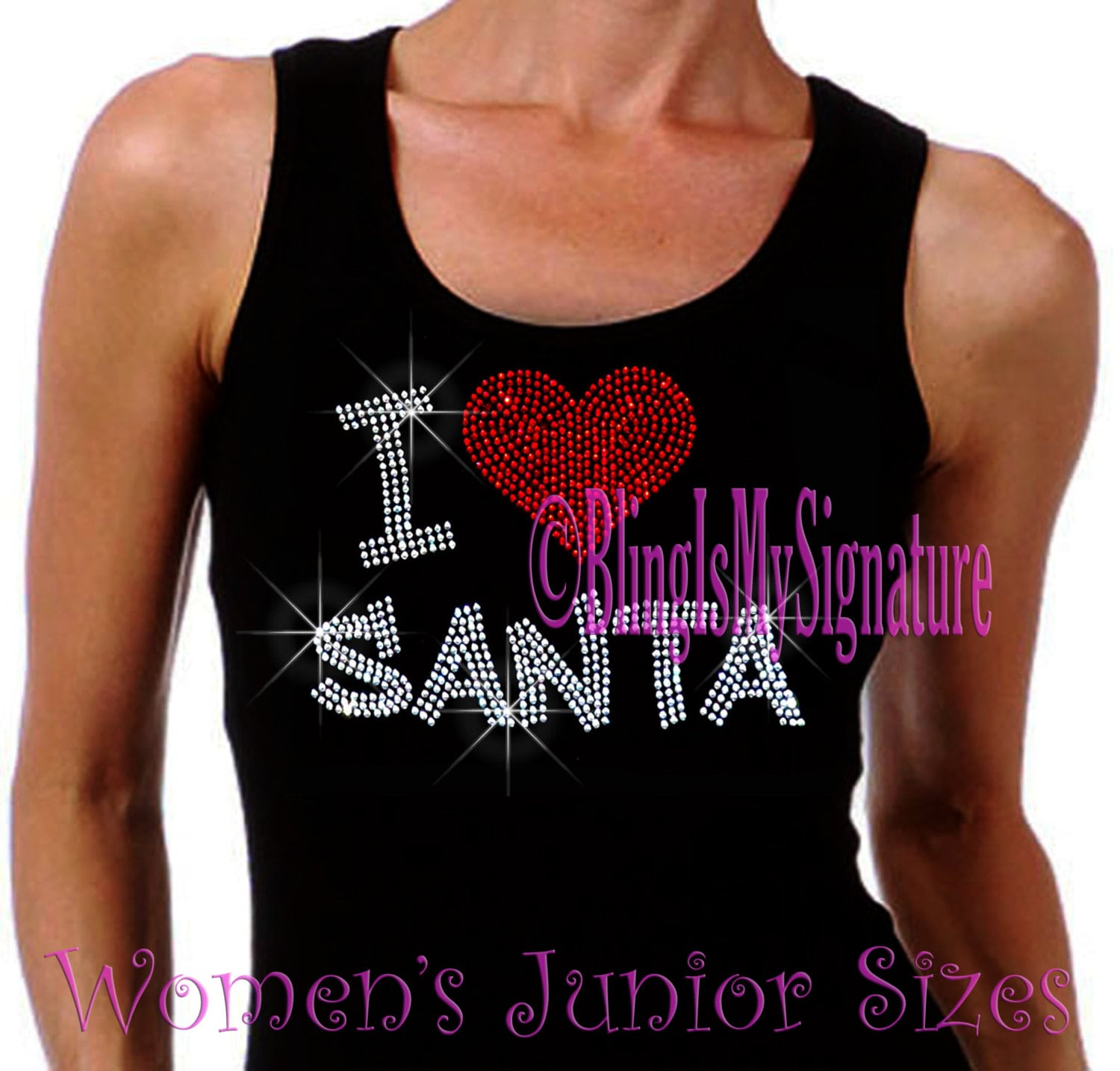 I Love Santa Heart Iron On Rhinestone Ribbed Tank Top