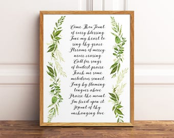 Come Thou Fount, Hymn Print, Come Thou Fount Of Every Blessing, Come Thou Fount Wall Art, Poster, Hymn Wall Art, Christian Hymn, Hymn Print