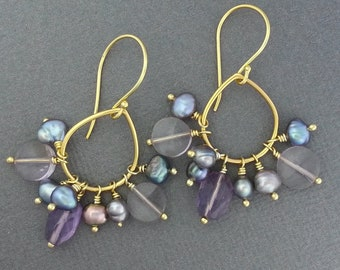 Amethyst, Ametrine & Pearl Gold Vermeil Chandelier Earrings, unique present, gift.