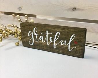 Grateful handlettered mini block