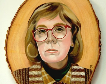 the Log Lady Twin Peaks Oil Painting on wood panel Lowbrow Pop Art
