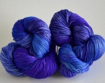 Hand dyed yarn pick your base - Larkspur - sw merino cashmere nylon fingering dk worsted
