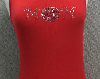 Red soccer mom tank top