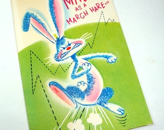 Vintage Get Well Card, Mid Century Greeting Card,  Mad As A Hare, Rabbit, Bunny, Green  (521-10)
