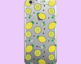 Lemon Confetti Clear Plastic Phone Case for iPhones - Citrus Lemonade