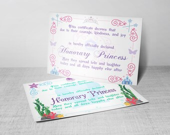 PRINTED/SHIPPED: Full Size Princess Certificate  (8.5 x 11) - Great For Coronation Ceremony, Birthday Gift, Party Favors