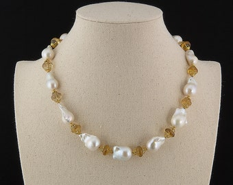 Large White Baroque Pearl Necklace with Faceted Beer Quartz and 20K Gold, Museum Quality, Statement Necklace, Custom Fine Jewelry