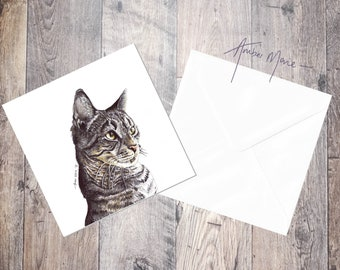 Tabby Cat Greeting Card Stripy Cat / Grey / Silver Tabby / Moggy / Kitten