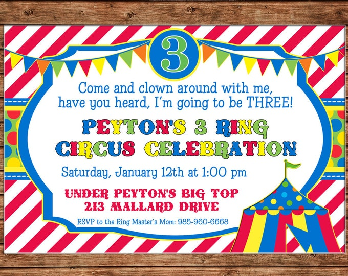 Boy or Girl Invitation Circus Tent Carnival Birthday Party - Can personalize colors /wording - Printable File or Printed Cards