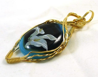Gold, Blue and White Lily Pendant