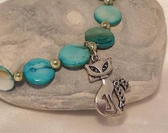 Cat bracelet - mother of Pearl - cat