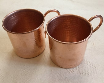 2-pack of 12oz Handcrafted Moscow Mule Pure Copper Hammered Mugs