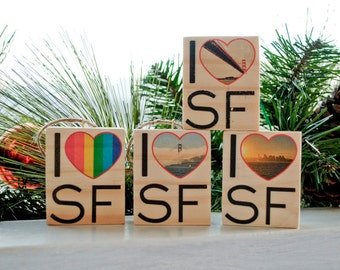 I Heart SF - San Francisco Scenes - Mini / Ornament Distressed Photo Transfers on Wood - Choose