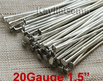 Antique Silver Tone Head Pins 38mm 1.5 inches 20 Guage -Heavy Strong PN-E38x0.8AS - 100 pcs