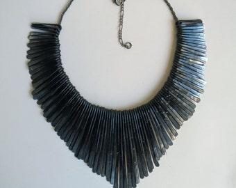 Raven's Wing black beaten metal statement fringe necklace