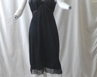 1950s Vintage Van Raalte Full Black Slip or Petticoat, Size 36, Nylon with Wide Lace Trim & Bodice, Opaquelon, Vintage Clothing, Slight Flaw