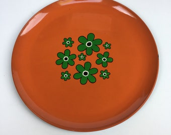 Vintage Round Orange Tray Green Floral Made in Japan