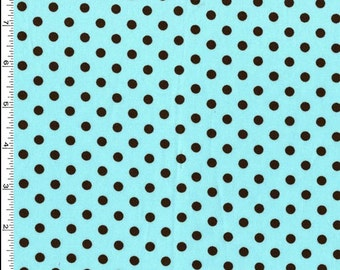 Dumb Dot Aqua Blue with Black Dots - Michael Miller
