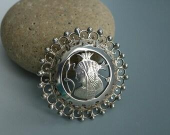 Vintage Egyptian Pharoah Pendant Pin Sterling Silver