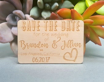 Save the Date Magnets - Custom Engraved Wood Magnets