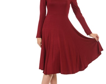 Long Sleeve Fit and Flare Midi Dress Burgundy