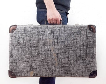 Mid Century Suitcase Hardcase Storage Case in Brown