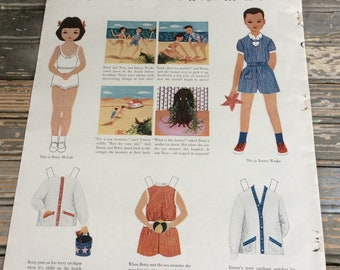 Vintage Betsy McCall Paper Dolls 1953 - Betsy McCall Meets a Sea Monster - Magazine Page - Ephemera - Paper Doll