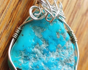 Textured Wire Wrapped Turquoise Stone