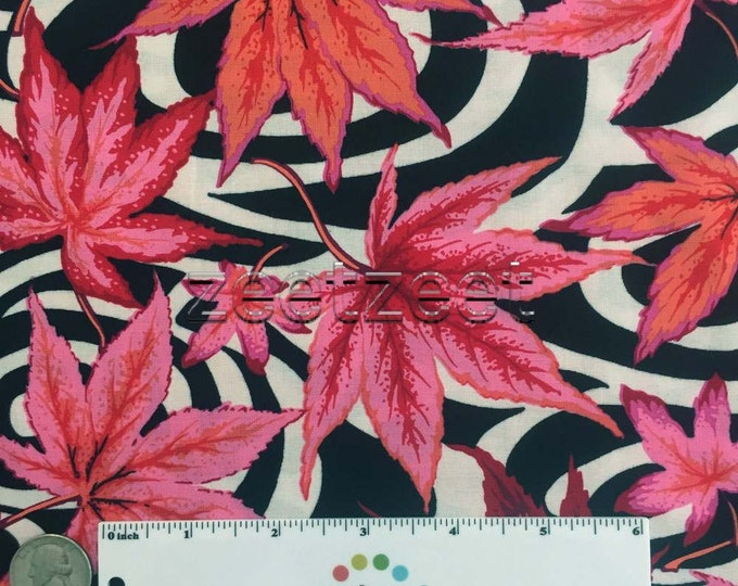 Kaffe Fassett MAPLE STREAM Black Pink Quilt Fabric - by the Yard, Half Yard, or Fat Quarter Fq Spring 2016 designed by Philip Jacobs PWPJ080