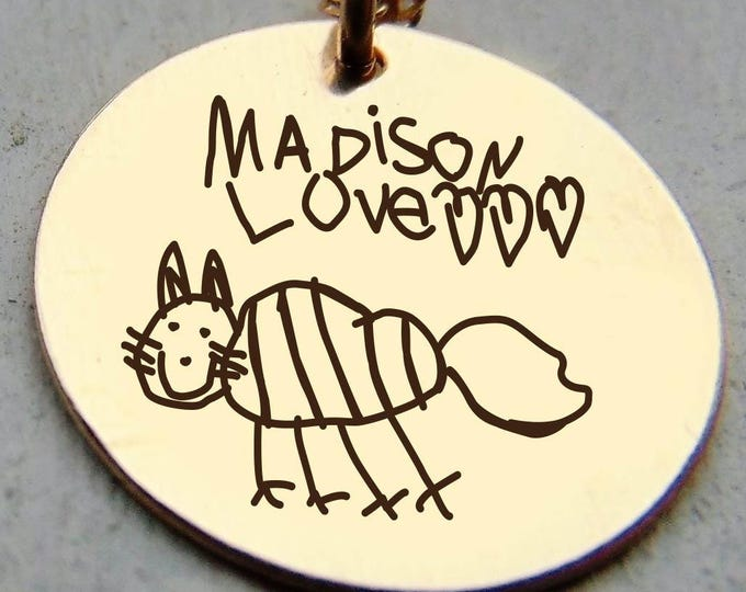 """Your Child's Drawing Customized!Child Writing or Art in Yellow Gold, Rose Gold, Sterling Silver 5/8"""" round pendant, simple drawings or names"""
