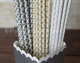 Straws Gold Silver Black Damask Paper Straws Wedding Straws Paper Party Straws Damask Shower Straws Birthday Party Straws Retro Straw
