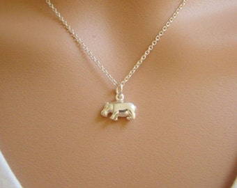 Hippo Charm Sterling Silver, Hippopotamus Charm, Wholesale Sterling Silver Charms, Adorable Cute Charms