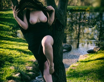 Woman leaning on a tree by a creek in the forest Outdoor nude Fine art photo print Naked in nature home decor - Dreams of the Priestess - 08