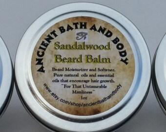 Sandalwood Beard Balm, Beard Moisturizer, Beard Conditioner, Beard Care, Mens Grooming