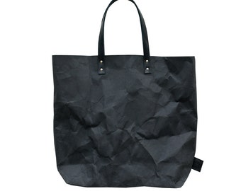 Black washable Paper Tote Bag