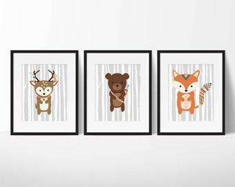 Woodland Nursery Decor - Animal Nursery Print - Tribal Woodland Nursery Art - Woodland Animals - Modern Nursery - Set of 3 11x14
