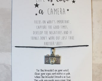 Life is like a Camera | Wish Bracelet | Token gift | Gift for her | Gift for Friend