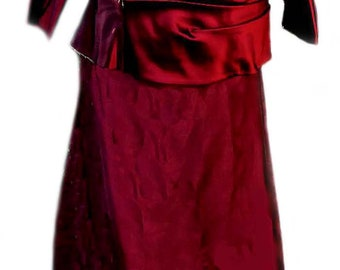 Formal Blouse and Skirt Set by Bill Levkoff in Maroon Fabric / Vintage 1990's - Fits Size XLarge (US Sz 16)
