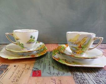 1930's ABJ Grafton 'Lucerne' Art Deco Tea Service  Tea Cups and Saucers Trios