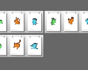 Unova, Kalos OR Alola Starter Monsters **CHOOSE SET** A4 or A5 Prints